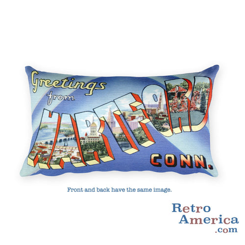 Greetings from Hartford Connecticut Throw Pillow
