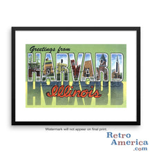 Greetings from Harvard Illinois IL Postcard Framed Wall Art