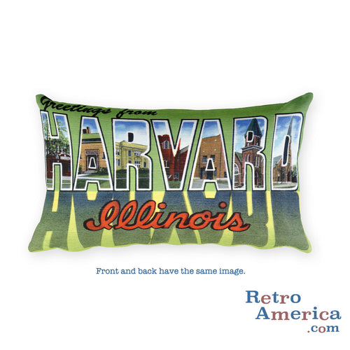 Greetings from Harvard Illinois Throw Pillow