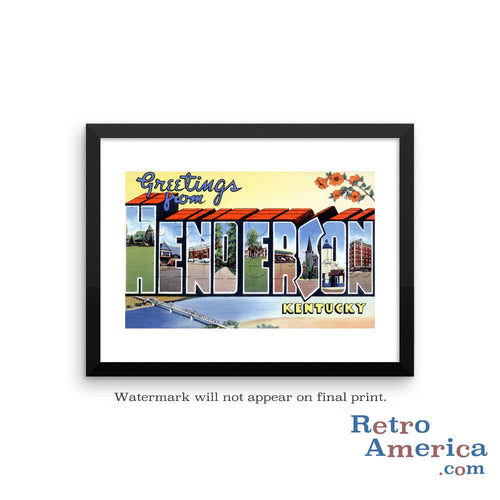 Greetings from Henderson Kentucky KY Postcard Framed Wall Art