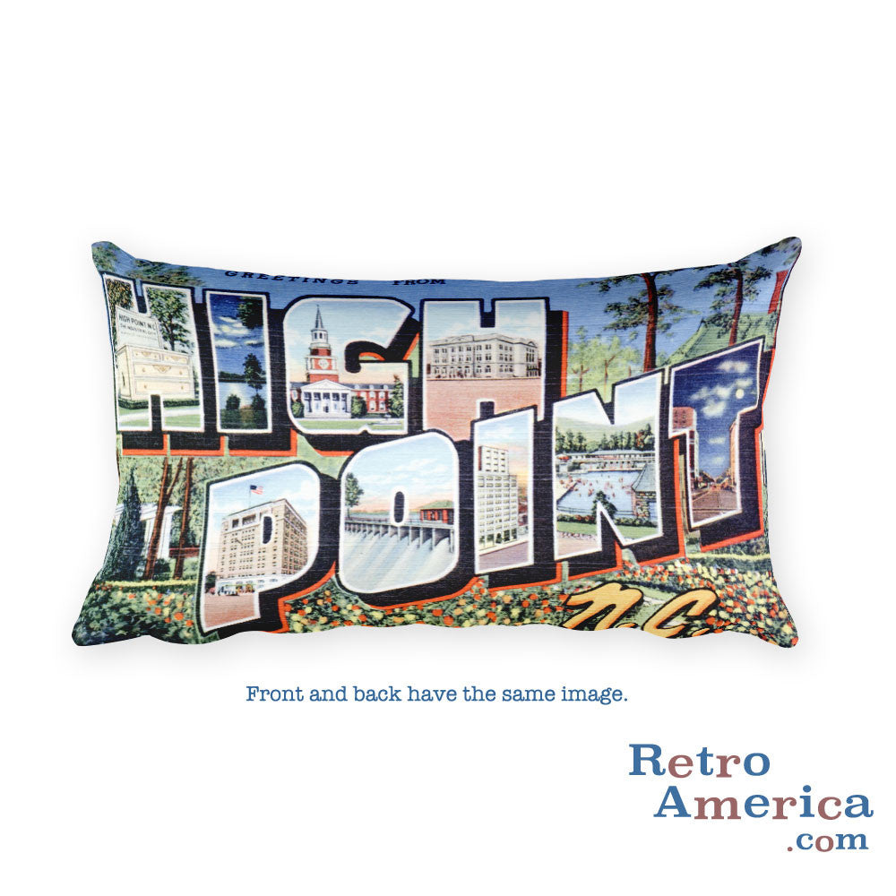 Greetings from High Point North Carolina Throw Pillow