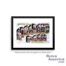 Greetings from Highland Park Illinois IL Postcard Framed Wall Art