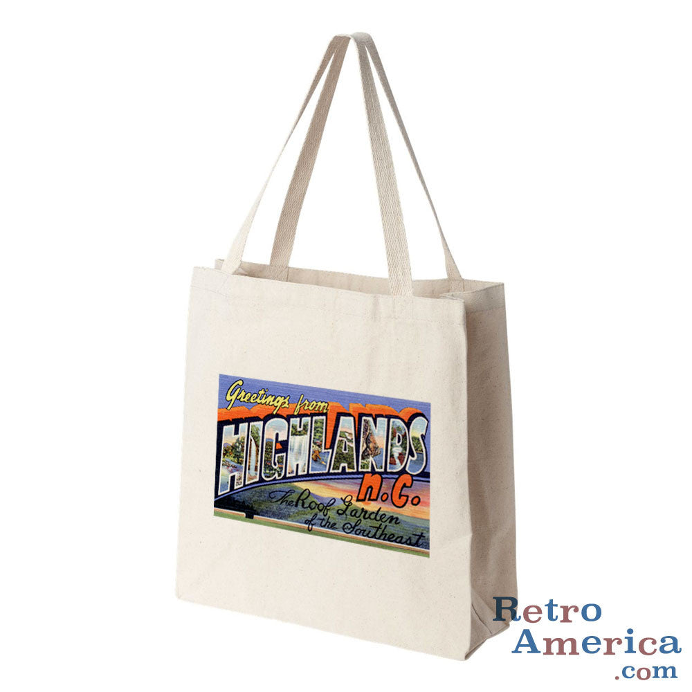 Greetings from Highlands North Carolina NC Postcard Tote Bag