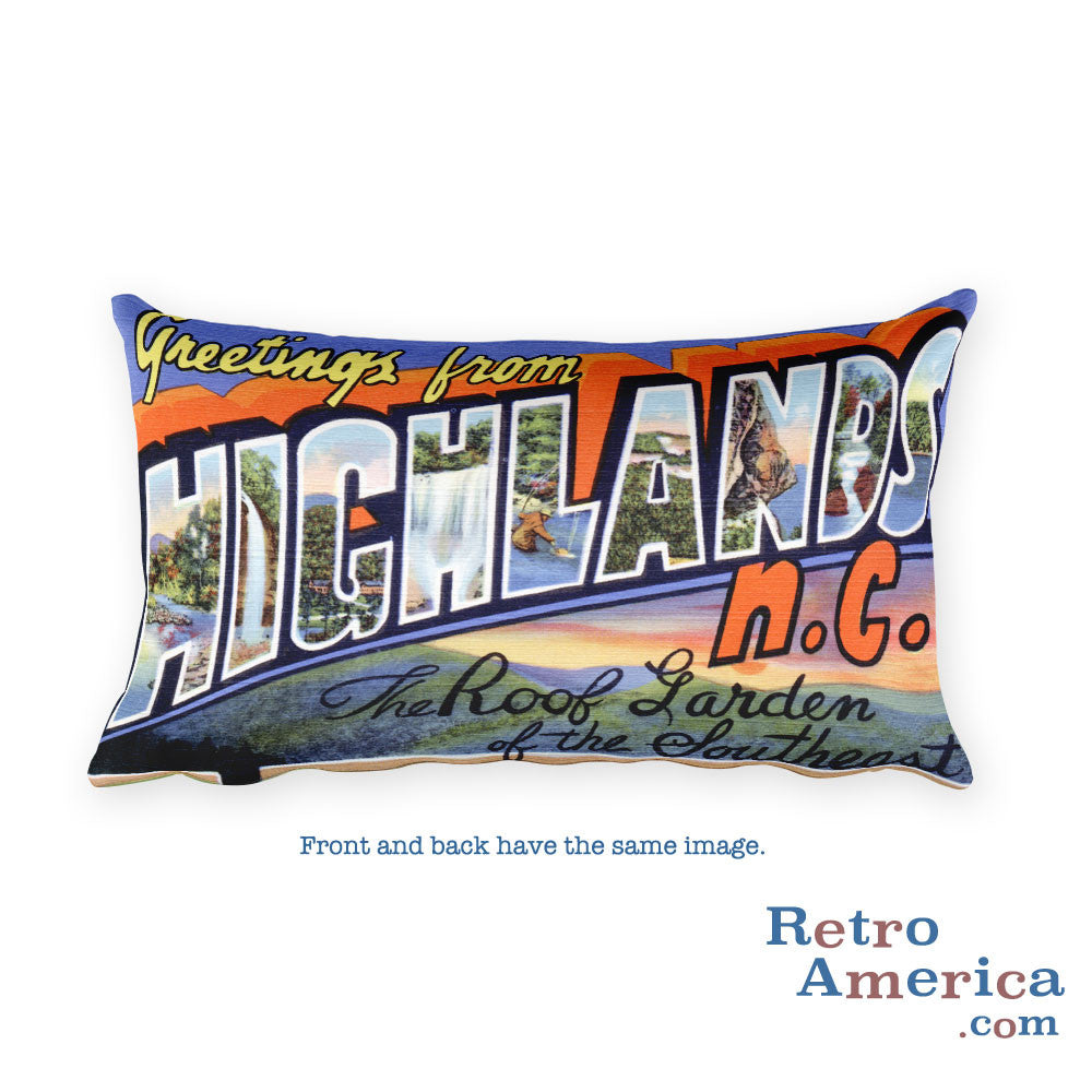 Greetings from Highlands North Carolina Throw Pillow