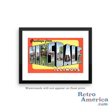 Greetings from Hinsdale Illinois IL Postcard Framed Wall Art