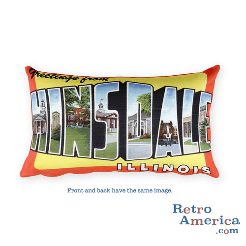 Greetings from Hinsdale Illinois Throw Pillow