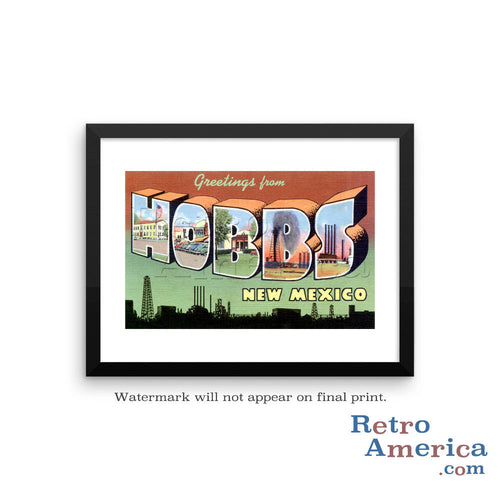 Greetings from Hobbs New Mexico NM Postcard Framed Wall Art