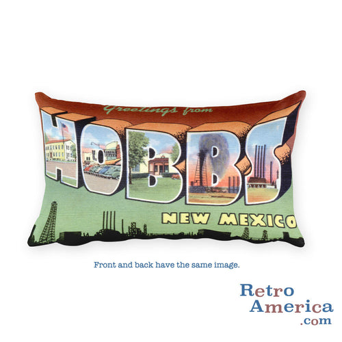 Greetings from Hobbs New Mexico Throw Pillow
