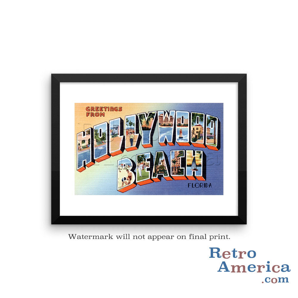 Greetings from Hollywood Beach Florida FL Postcard Framed Wall Art