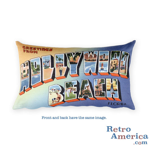 Greetings from Hollywood Beach Florida Throw Pillow