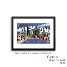 Greetings from Hollywood California CA 1 Postcard Framed Wall Art