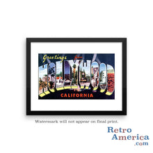 Greetings from Hollywood California CA 2 Postcard Framed Wall Art