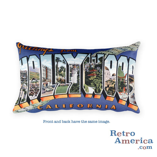Greetings from Hollywood California Throw Pillow 1