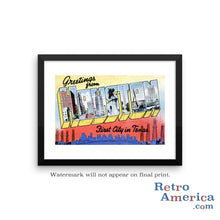 Greetings from Houston Texas TX 3 Postcard Framed Wall Art