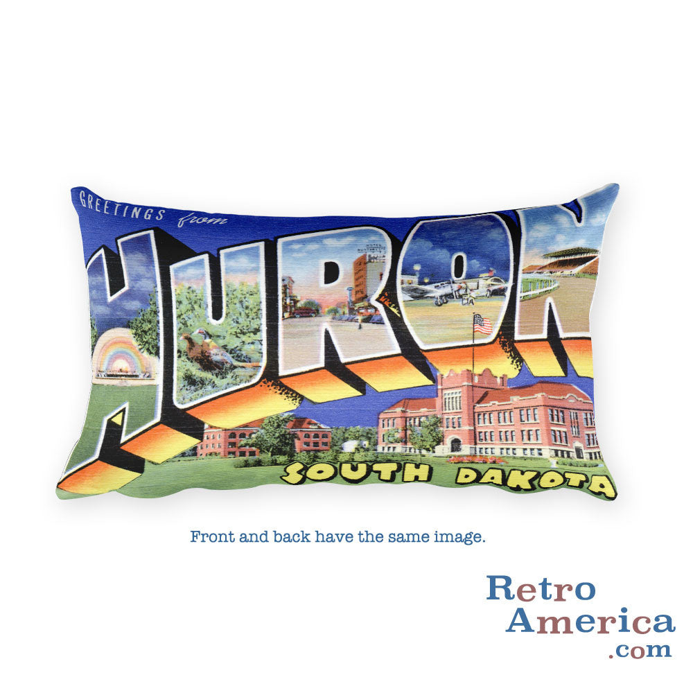 Greetings from Huron South Dakota Throw Pillow