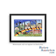 Greetings from Huron South Dakota SD Postcard Framed Wall Art