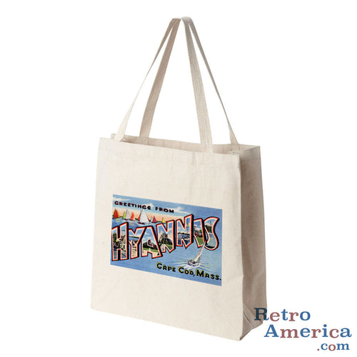 Greetings from Hyannis Massachusetts MA Postcard Tote Bag