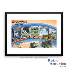 Greetings from Idaho ID Postcard Framed Wall Art