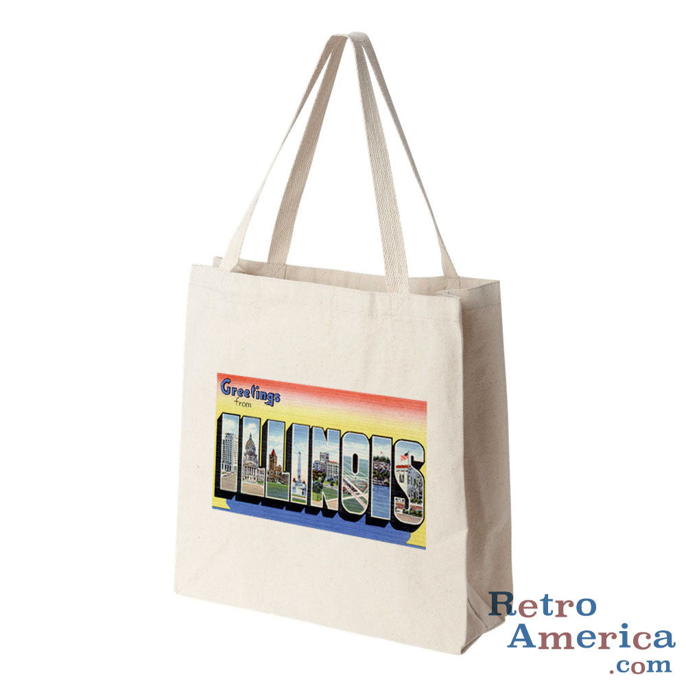 Greetings from Illinois IL 2 Postcard Tote Bag