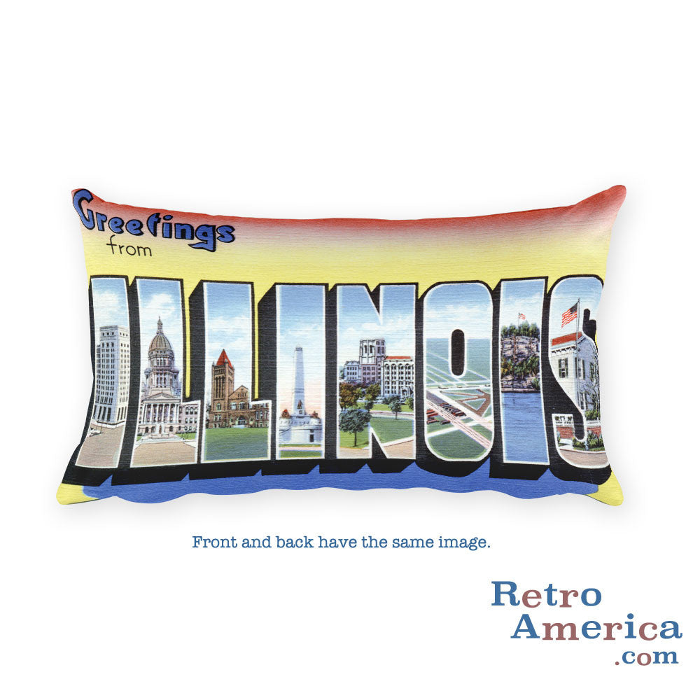 Greetings from Illinois Throw Pillow 2