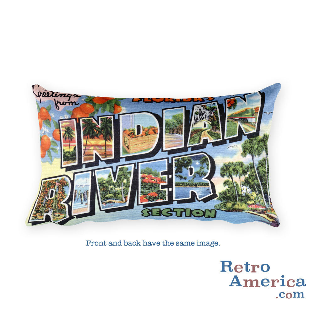 Greetings from Indian River Florida Throw Pillow