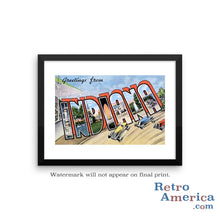 Greetings from Indiana IN 2 Postcard Framed Wall Art