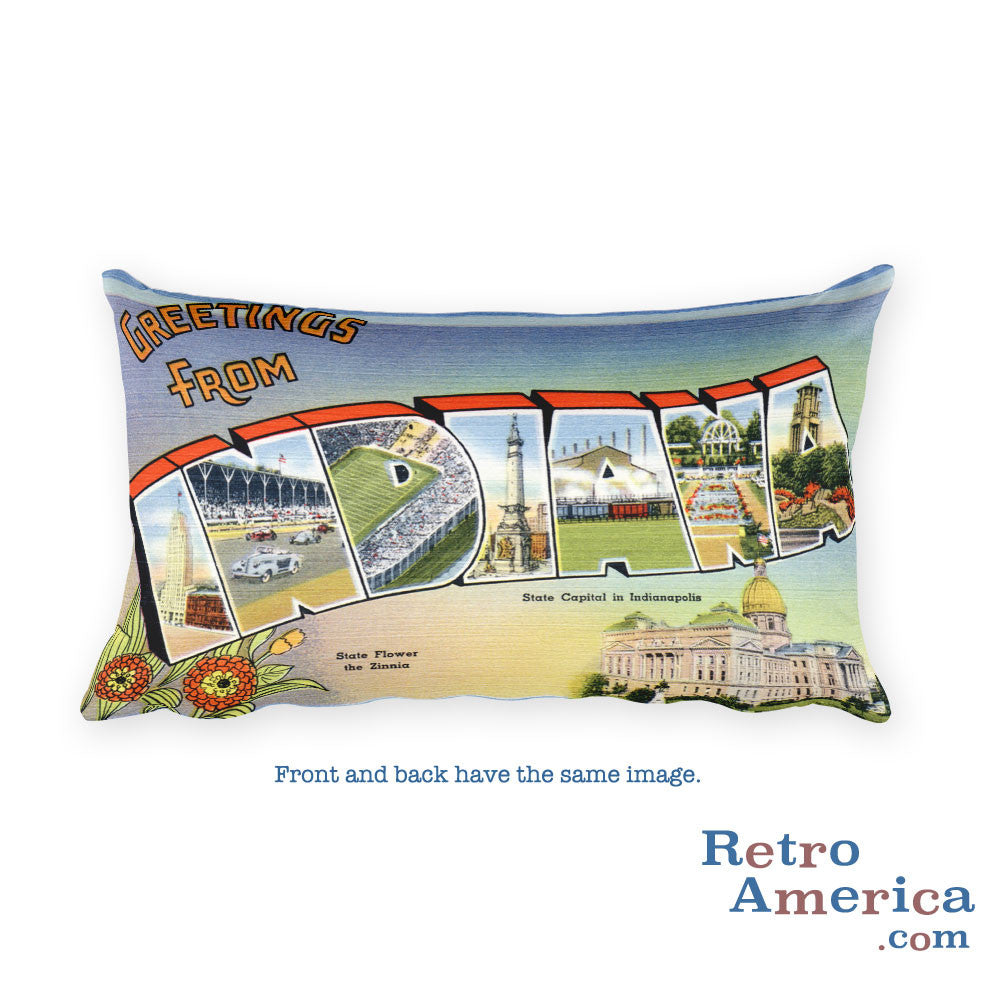 Greetings from Indiana Throw Pillow 1