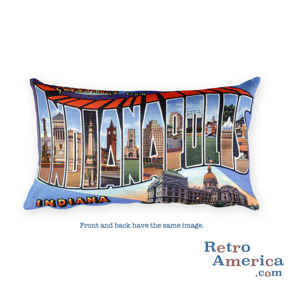 Greetings from Indianapolis Indiana Throw Pillow 1
