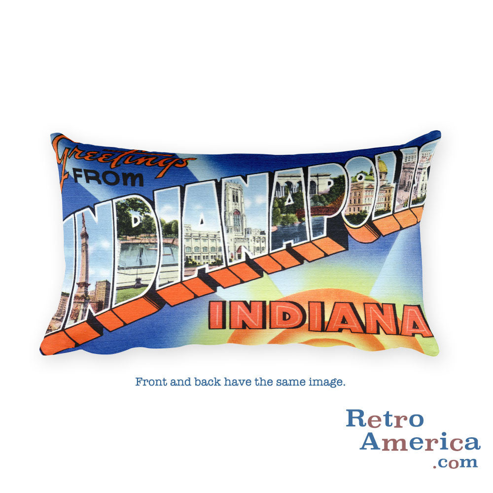 Greetings from Indianapolis Indiana Throw Pillow 2