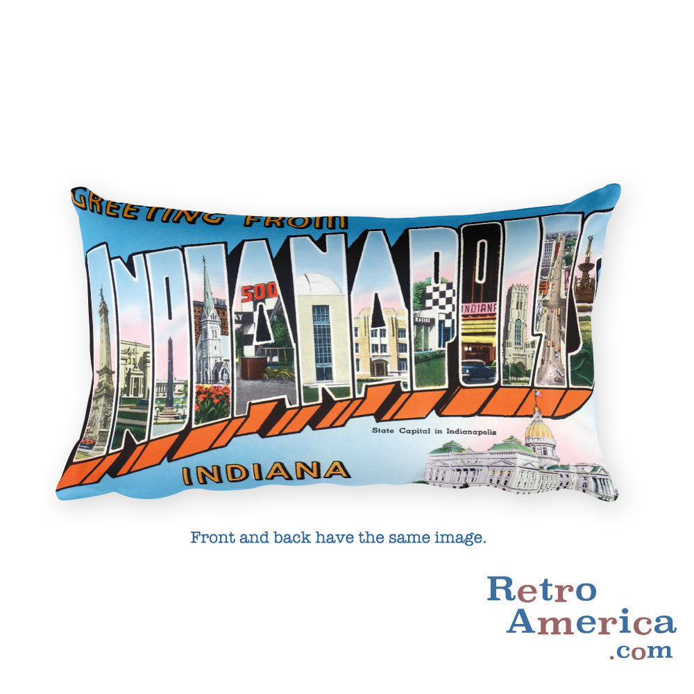 Greetings from Indianapolis Indiana Throw Pillow 3