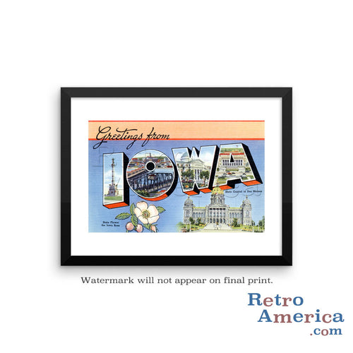 Greetings from Iowa IA 1 Postcard Framed Wall Art