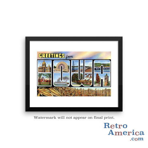 Greetings from Iowa IA 2 Postcard Framed Wall Art
