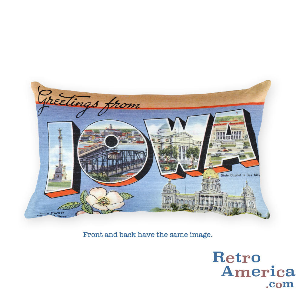 Greetings from Iowa Throw Pillow 1