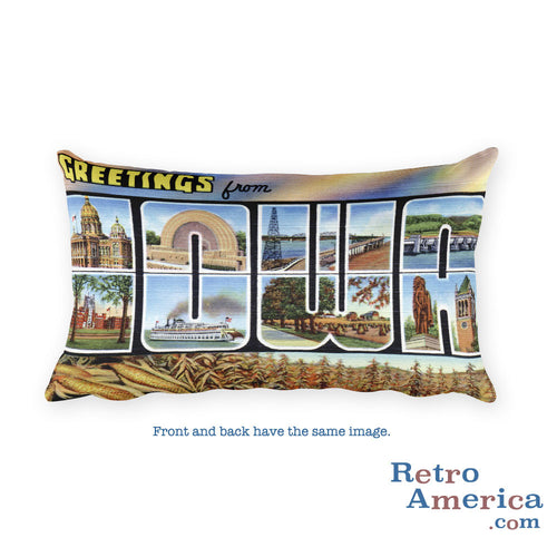 Greetings from Iowa Throw Pillow 2