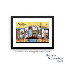 Greetings from Ironwood Michigan MI Postcard Framed Wall Art