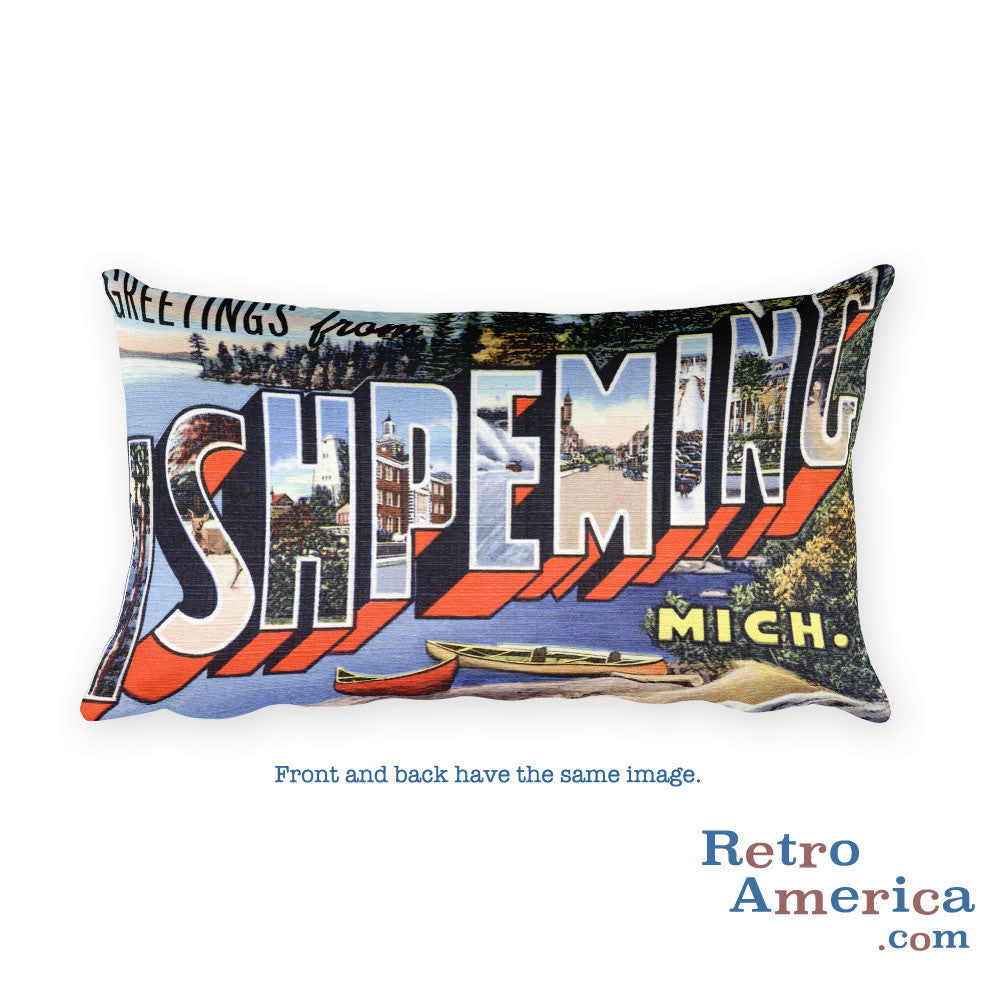Greetings from Ishpeming Michigan Throw Pillow