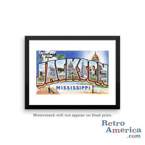 Greetings from Jackson Mississippi Ms Postcard Framed Wall Art