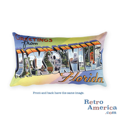Greetings from Jacksonville Florida Throw Pillow 1