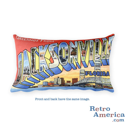 Greetings from Jacksonville Florida Throw Pillow 2