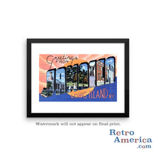 Greetings from Jamaica Long Island New York NY Postcard Framed Wall Art