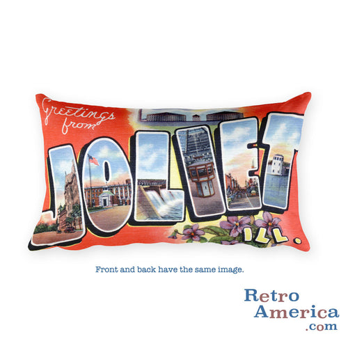 Greetings from Joliet Illinois Throw Pillow