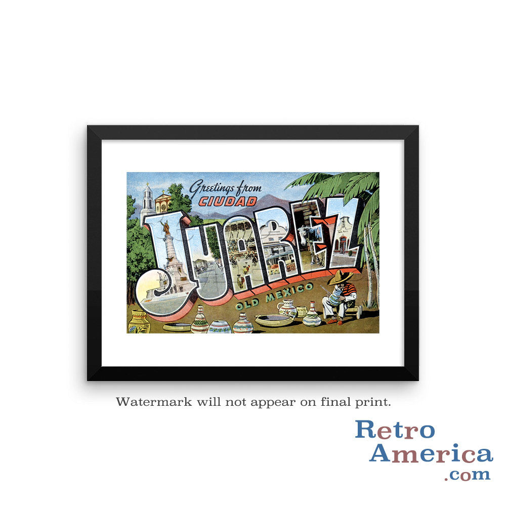 Greetings from Juarez Mexico Mexico 3 Postcard Framed Wall Art