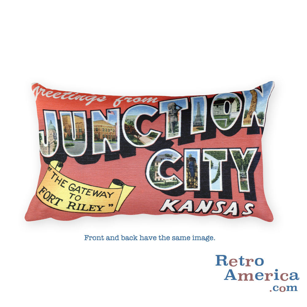 Greetings from Junction City Kansas Throw Pillow