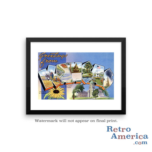 Greetings from Kansas KS 1 Postcard Framed Wall Art