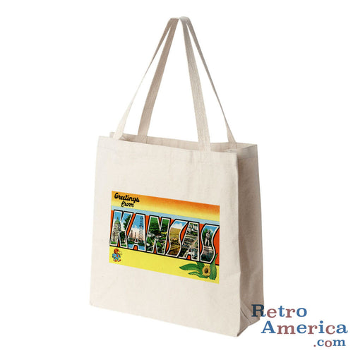 Greetings from Kansas KS 2 Postcard Tote Bag