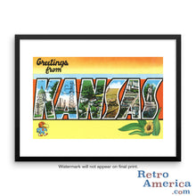 Greetings from Kansas KS 2 Postcard Framed Wall Art