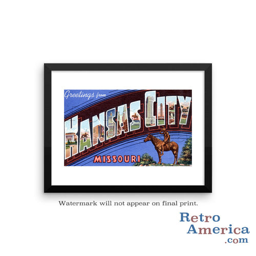 Greetings from Kansas KS 3 Postcard Framed Wall Art