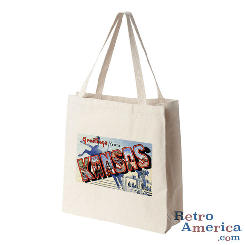 Greetings from Kansas KS 4 Postcard Tote Bag