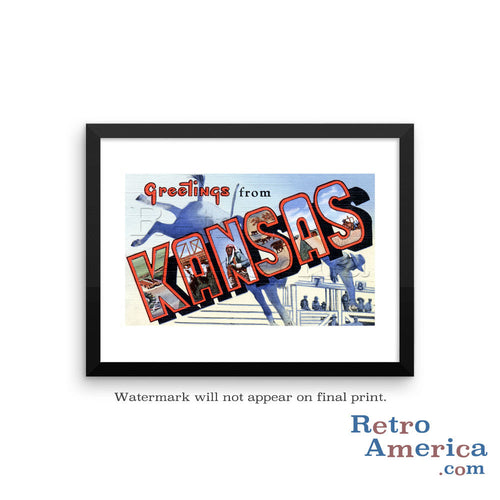 Greetings from Kansas KS 4 Postcard Framed Wall Art