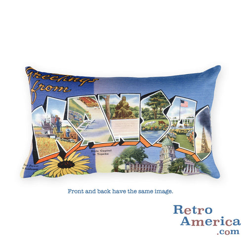 Greetings from Kansas Throw Pillow 1